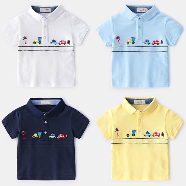 2019 Summer New Enfant Boys T-shirt Children Cotton embroidered cartoon car polo Shirt lapel Tops Kids Baby Short Sleeve T-Shirt 2-7y