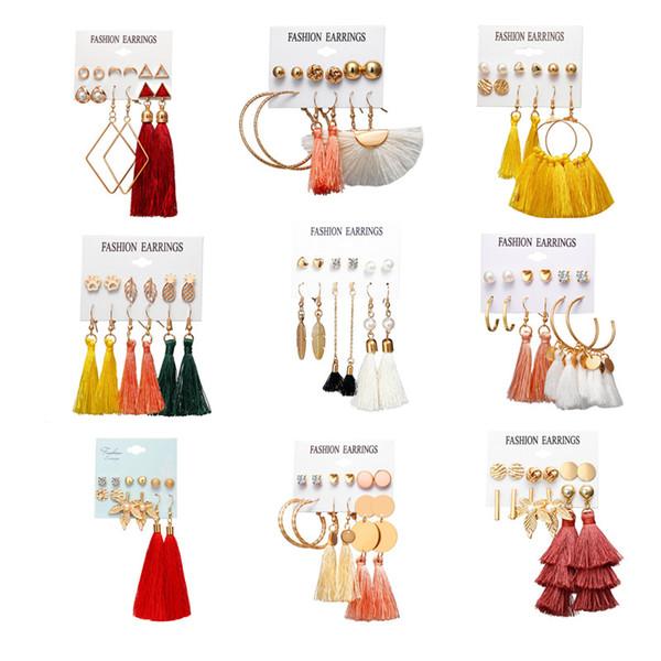 2019 nouveau design gland boucles d'oreilles ensemble pour les femmes fille 2019 bohème fleur d'or longue boucle d'oreille femme bijoux de mariage de mode