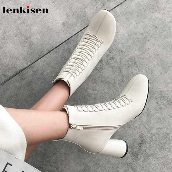 Lenkisen tatlı güzellik lady hakiki deri yuvarlak ayak yüksek topuklu chic lace up süslemeleri kış sıcak tutmak kadınlar ayak bileği çizmeler L53