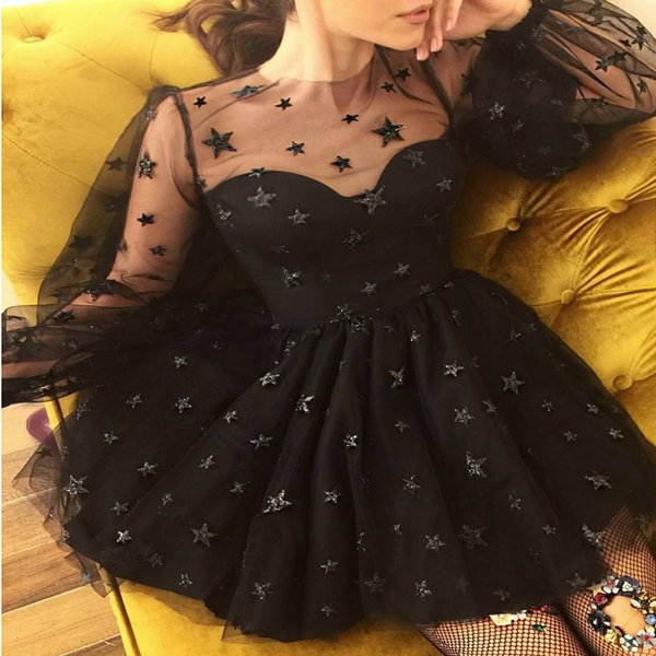 1a066d6342 2019 Cheap Sequins Party Dresses Black Short Length Sexy Long Sleeve Party  Dresses Prom Dresses Ball