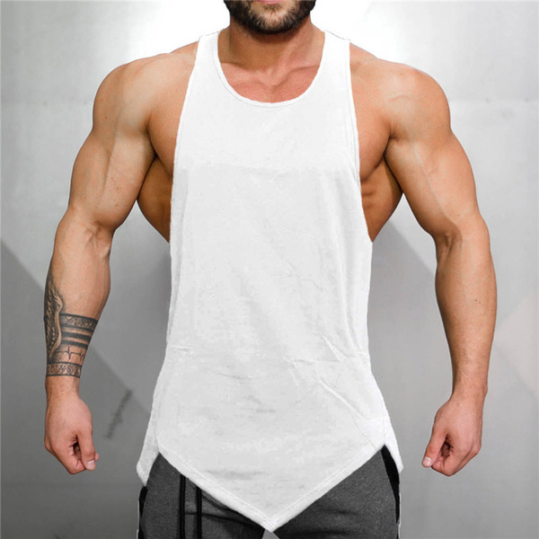2020 summer men's tank men's vest gym tank light board solid color loose bodybuilding fitness muscle male vest wholesale thumbnail