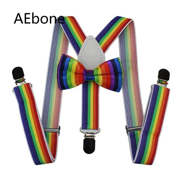 AEbone Baby Boys Bretelle Papillon Set a righe Rainbow Braces per bambini Ragazze Colorful Bretelle Tirantes Bebe 65cm Sus55