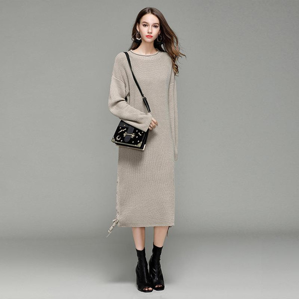 Long Sweater Dress Winter Autumn Women O-neck Solid Color Knitted Dresses Thick Casual Loose Ladies Vestido for Ladies Black/White