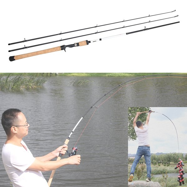 1.8m wooden handle lure fishing carbon rod 2 tips m ml power 5-35g lure weight 10-20lb trout casting rod fishing tackle thumbnail