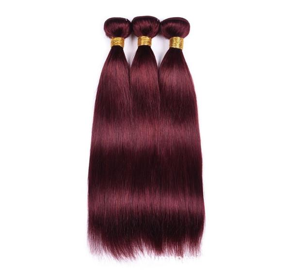 Borgoña Vino Rojo Color 99J Brasileño Ombre Paquetes de cabello humano Pelo virgen Color liso 1b Borgoña pelo liso Virgen