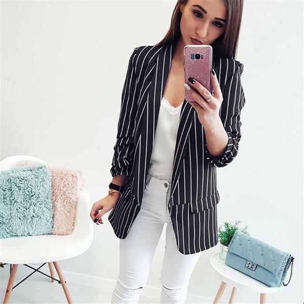 2019 Mulheres Nova Moda Blazers manga comprida magros Blazers para mulheres Plus Size terno listrado Coats Black White XXL