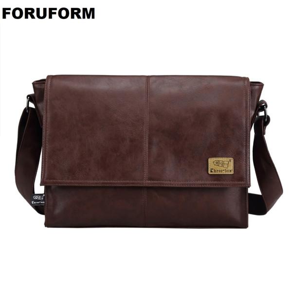Designer Handbags Men's 14 Inch Laptop Bag Male Pu Leather Messenger Bags Men Travel School Bags Leisure Shoulder Bags Free Ship Y19061803