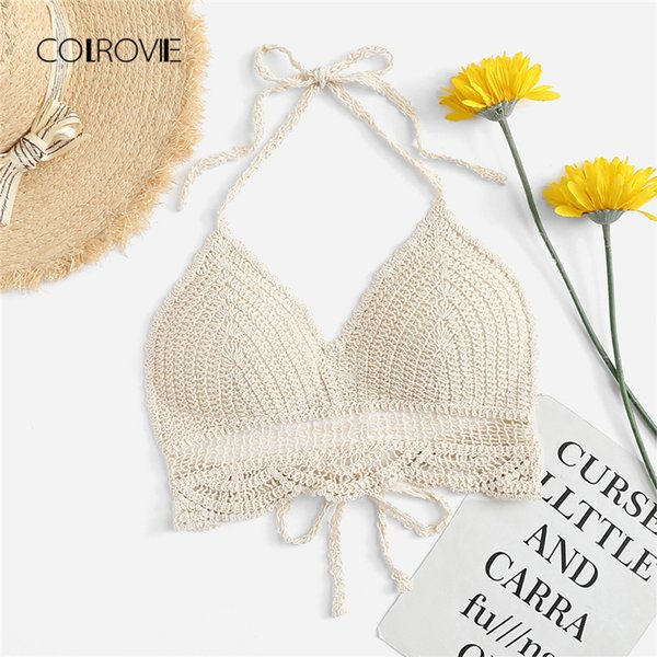 Colrovie Hollow Out Crochet Halter Tank Top 2018 Summer Apricot Casual Crop Top Knot Slim Vest Female Plain Cut Out Top Tees Y190123