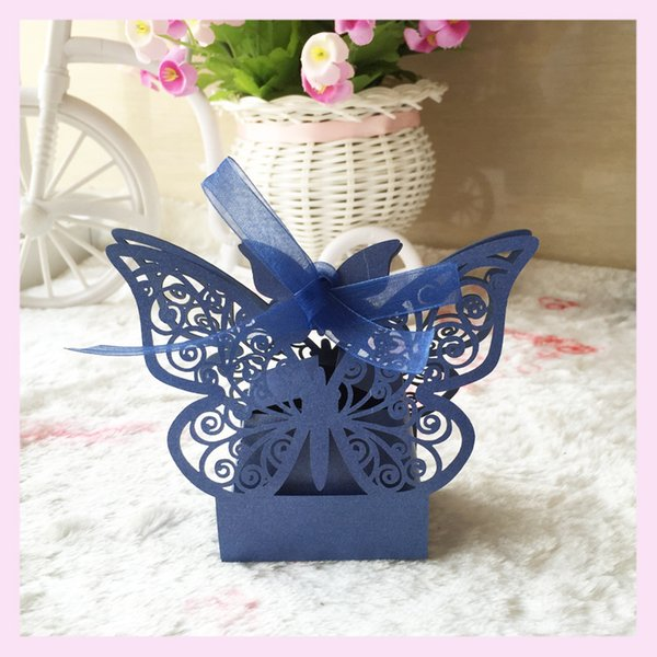 50pcs/lot 3D Butterfly Exquisite Design With Lace Ribbon Wedding Candy Boxes Favor Holders Thanksgiving Gifts Greeting Gifts Boxes