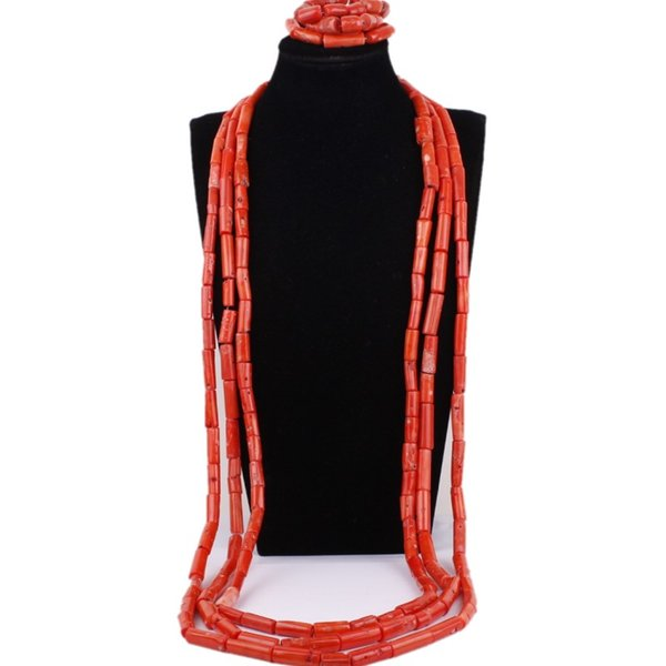 wholesale Men Jewellery Set African Orange or Red Groom Necklace Set Coral Beads Nigerian Wedding Beads Set Free Shipping New