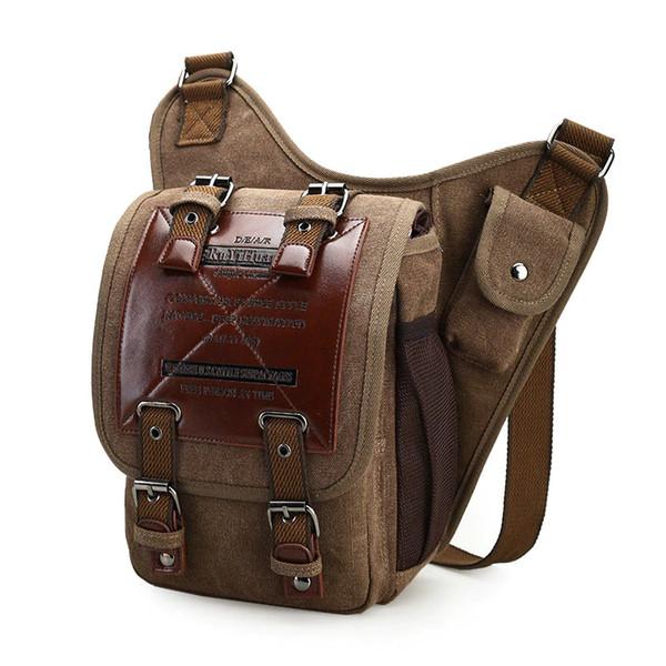 BERAGHINI Brand Leather Decoration Vintage Men Over the Shoulder Bags Male Small Sling Messenger Bag Canvas Military Saddle Bag