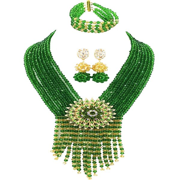 Green Champagne Gold AB African Jewelry Set Crystal Beaded Necklace Bracelet Earrings Nigerian Wedding Party Jewelry Sets 8SK10
