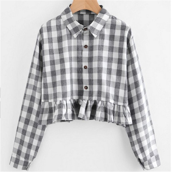 2019 Korean Ladies Lapel Casual Long Sleeve Plaid Shirt Women Tunic Crop Tops Shirt Ruffles Blouse High Street Blusa Plus Size