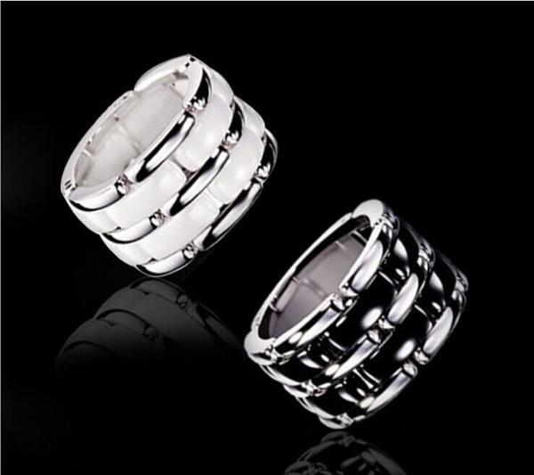 Anneaux de luxe à chaînes en céramique de style double chaîne noire / blanche, titane plaqué en acier inoxydable titane, bijoux femmes / hommes - taille 5 à 12