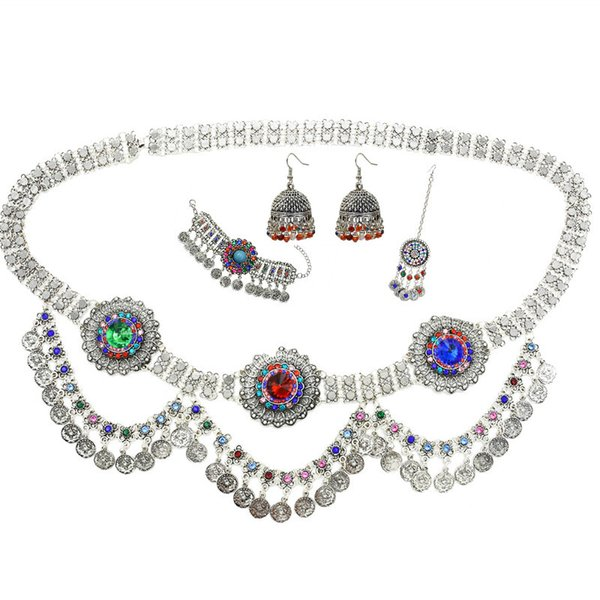 Boho Crystal Flower Coin Belt Belly Waist Chains Drop Earrings Hairpins Bracelet Afghan Jhumka Turkish Body Jewelry Sets