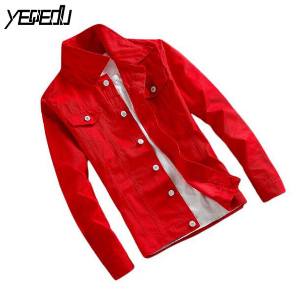 # 7405 Bahar 2019 Ince Rahat Kot Ceket Erkekler Kısa Rüzgarlık Bombacı Ceket Unisex Kot Ceket Siyah / Beyaz / Kırmızı Streetwear