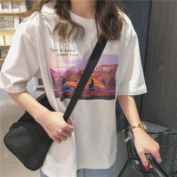 Korea Ulzzang Anime Paare Tops Hip-Hop Neue Buchstaben Und Große Lose Cartoon Cartoon Vaporwave Druck Frauen T-shirt