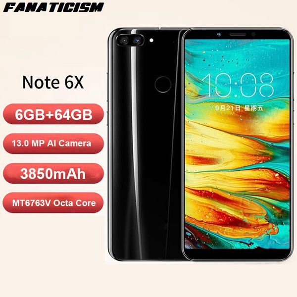 Fanaticism Brand Note 6X 5.99inch Face Unlocked 4G LTE 6GB + 64GB Android Smartphone MT6763V Octa Core 13.0 MP Camera Cellphone