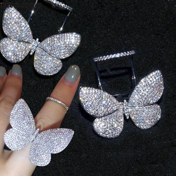 choucong Handmade Flying Butterfly Ring Mrico Pave 299pcs 5A Zircon Cz 925 Sterling Silver Party Wedding Band Rings for women V191213