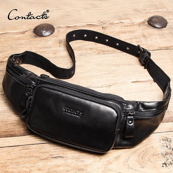CONTACT'S Genuine Leather men waist bag cell phone bag for the belt sac banana homme travel crossbody bags male fanny pack black
