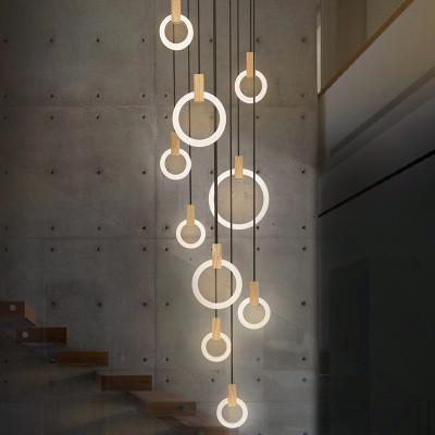 Anneau Rond Led Pendentif Lumières Cercles Acryliques Lustre Pendentif Lumière Bois Luminaria Éclairage Intérieur Lamparas Villa Escaliers Lampe