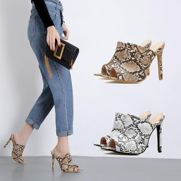 Boussac sexy punta a punta sandali tacco alto donne open toe serpente donne muli tacco sottile eleganti scarpe da donna donne infradito sandali SWC0367