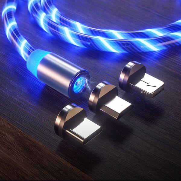Explosive Magnetic Flow Datenkabel für iPhone Mobile Flash Datenleitung Metall Magnetic Light Line