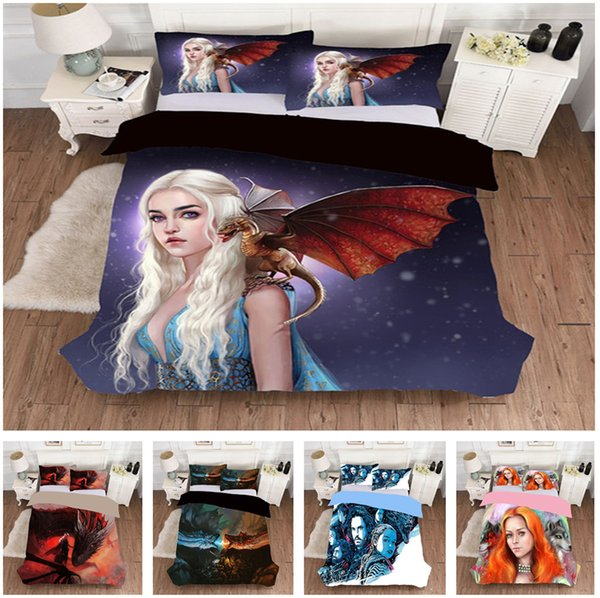 Game of Thrones and Mermaid Cartoon Design Bedding Set 2PC/3PC Duvet Cover Set Of Quilt Cover & Pillowcase Twin Full Queen King Size