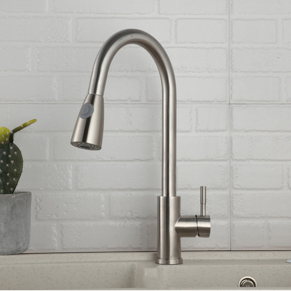 New 1 set Pull Out chrome Kitchen Faucet Sink Mixer Tap Swivel Spout Sink Faucet Swivel Copper Kitchen Faucets tap