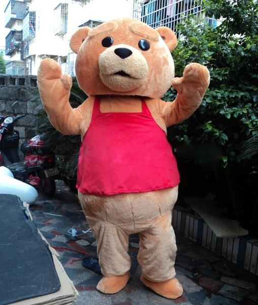 Professional custom lovely Deluxe Teddy Bear Mascot Costume Character brown bear Mascot Clothes Christmas Halloween Party Fancy Dress