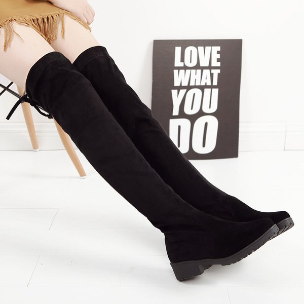 Thigh High Boots Female Winter Boots Women Over The Knee Stretch Sexy Fashion Shoes Black Riding Zapatos De Mujer