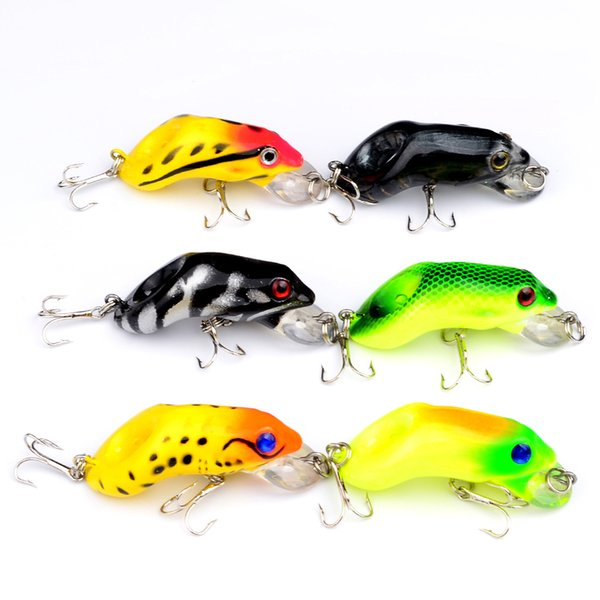 55mm 8.8g Plastic Ray Frog Fishing Lures Set 6#Hook Topwater Minnow Crank Bait Artificial Hard Lure for Snakehead Fishing Tackle 6pcs/lot