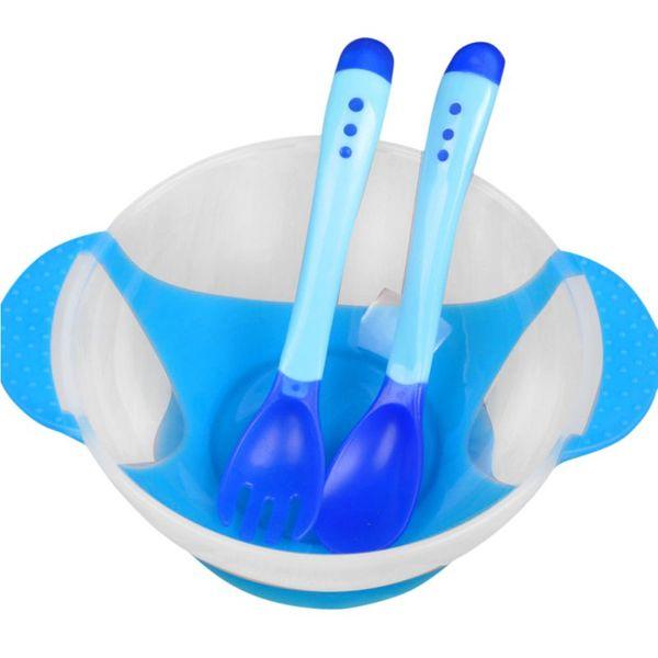 Newborn Baby Boy Girl Suction Cup Bowl Slip-resistant Tableware Temperature Sensing Spoon Set Kids Children Training Bowl Set
