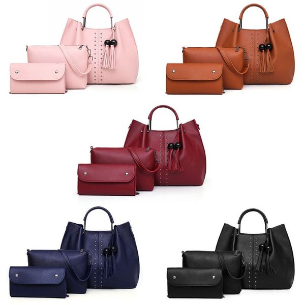 3Pcs Women Rivet PU Leather Shoulder Bag Tassel Handbag Tote Satchel Hobo Purse Set