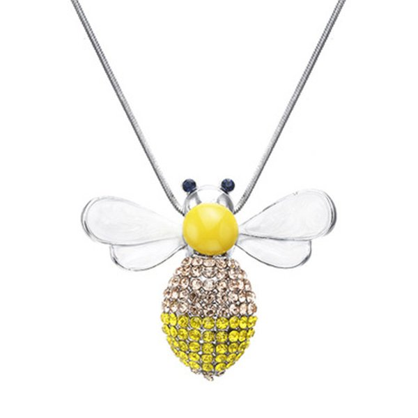 2019 Fashion Cute Solid Little Bee Pendant Animal honey bee rhinestone Necklace crystal for Women Rose gold color Brand Jewelry