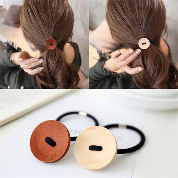 Fashion Women Wooden Button Hairband Vintage Hair Accessories Girl Elastic Hair Rope Ponytail Holder rubber Twist Braider