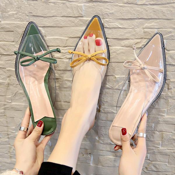 Talons Slides Chaussons femme Chaussures Pointu Toe Transparent Chaussures Femme Pvc Mules Chaussures Femmes été Calzado mujer E655
