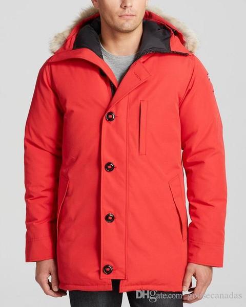 Invierno Canadá castillos Mens de la marca Veste Hombre al aire libre Jassen prendas de vestir exteriores encapuchada de la piel de Big Fourrure Manteau abajo chaqueta de la capa Hiver Parka Doudoune