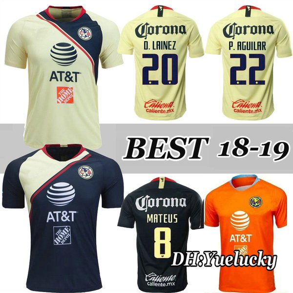 459ce3cd8d3 Top Thai quality 18 19 black America jersey soccer home yellow 2018 2019  away Mexico club