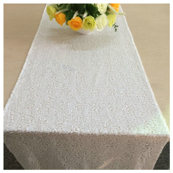 ShinyBeauty 12x72 Inch White Wedding Table Runners Glitz Table Runners 30x180cm Photography Runners Linen For Wedding Party Decor-c