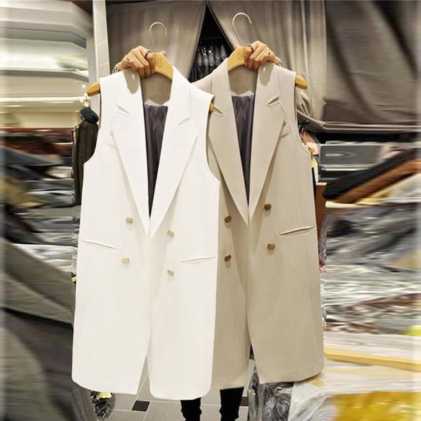 Outono Primavera Longo Terno Mulheres Colete Abrigo Mujer Elegante Escritório Senhoras Colete Sem Mangas branco Preto Colete Casaco Jaqueta Bolsos