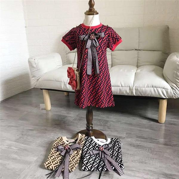 FF дети цельный платье парирует шею с коротким рукавом дети бантом летние платья мода ребенок девочка дизайнер одежды B6202