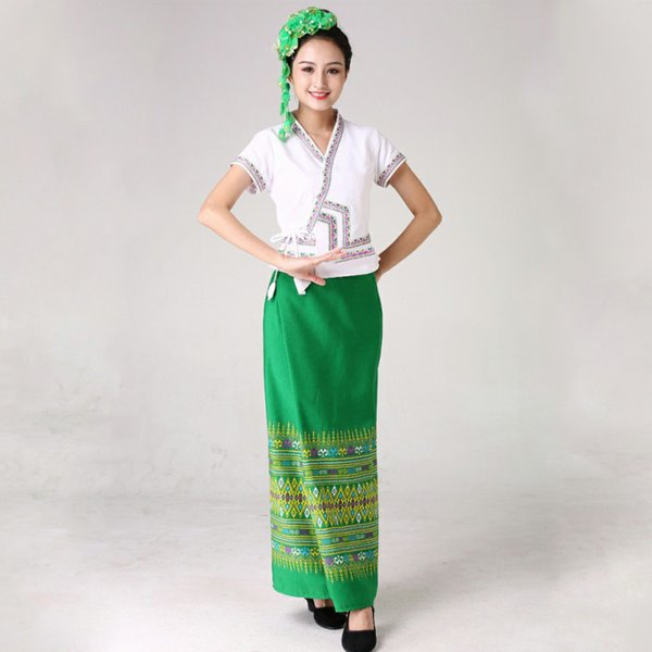 fa8d6c18a Thailand dancing costume Women festival dress stage Performance wear  Southeast Asian Style ethnic clothing oriental folk