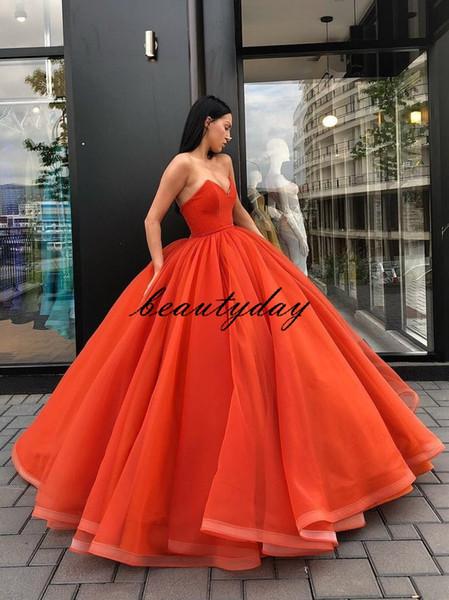 Orange Quinceanera Dresses 2019 Modest Strapless