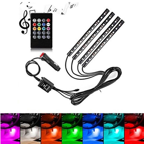 4 pezzi 48-LED Car Interior Lighting Kit di illuminazione decorativa, multi colore con Sound Active Function Telecomando wireless