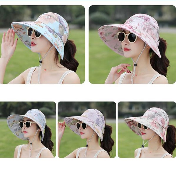 꽃 썬 바이저 모자 5 색상 여성 여름 챙이 넓은 UV 보호 캡 야외 비치 포니 테일 모자 새로운 OOA6602