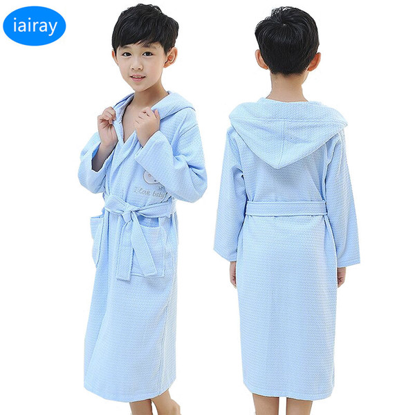 Crianças branco roupão de algodão menino com capuz poncho toalha rosa roupão de banho para meninas roupao azul solto longo pijama roupões de banho pijamas SH190912