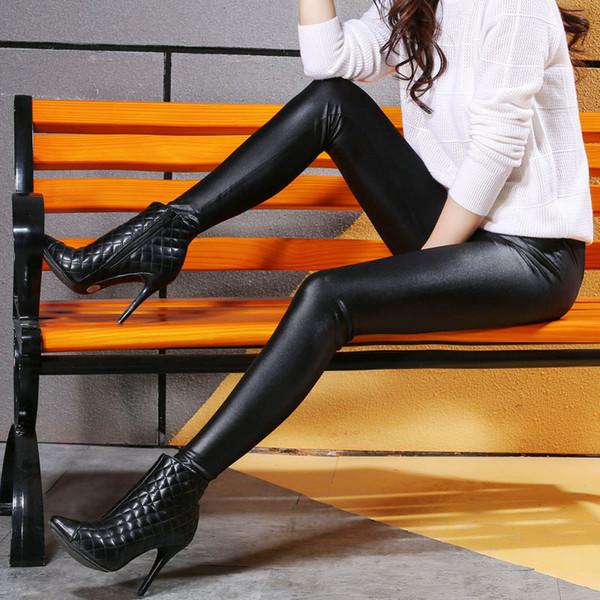 Faux cuir pantalons dames femme taille haute noir crayon pantalon pantalon en cuir d'unité centrale femmes automne hiver S-xl