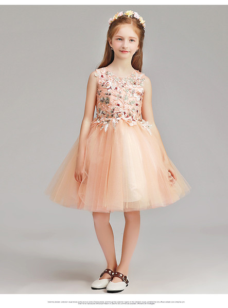 Knee Length Flower Girl Dresses Back Zipper Girls Pageant Dresses Lace Little Girl Dress Sleeveless Model Walking Show Girl In Stocks