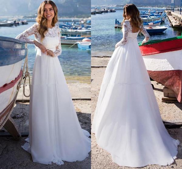 Long Sleeve Beach Wedding Dresses 2019 Lace Chiffon Open Back Beach Bohemian Bridal Wedding Dress Cheap Custom